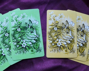 Vintage Bunny Rabbit Playing Cards Green and Yellow Combo