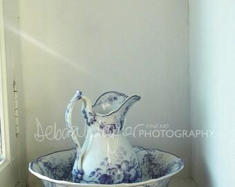 Photograph of blue & white jug, digital download