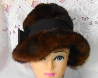 Vintage Brown Ranch Mink Fur Fedora Hat With Ribbow Bow