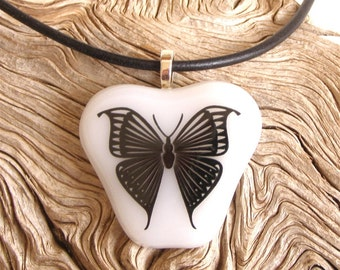 Butterfly Fused Glass Pendant Necklace Black Butterfly Decal on White Glass