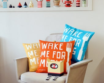 Pillow, Pillowcase, Wake Me For Meals, red, yellow, blue