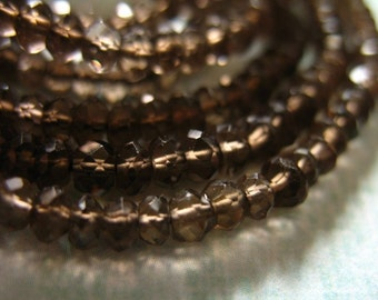 Shop Sale..SMOKEY Smoky QUARTZ Rondelles, 1/2 Strand, 3-3.75 mm, Luxe AAA  Chocolate Brown Faceted  ..  fall  neutral classic  ..