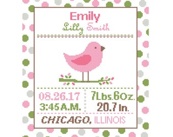 1 Cross Stitch custom Pattern Baby Girl Personalised Birth Announcement Birth Record Bird Pink Green Brown Nursery polka dot