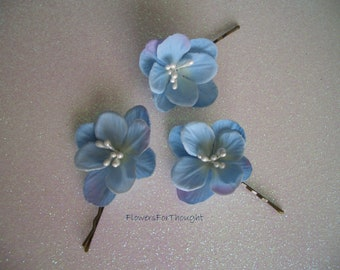 Blue Hydrangea Wedding Hair Pins, Something blue for the bride