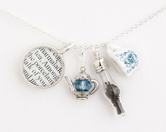Poetry Jewelry - Tea with J. Alfred Prufrock Necklace - Literary Jewelry - T. S. Eliot - Gifts for Book Lovers