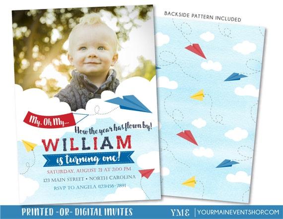 Paper Airplane Birthday Invitation, Airplane Invitation, Time Flies Birthday Invite, First Birthday 1st Birthday Boy Birthday Invitation