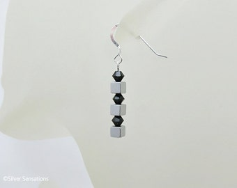 Silver Hematite Square Cubes Drop Earrings With Swarovski Crystals & Sterling Silver, Elegant Earrings, Designer Earrings, Gift for Her,