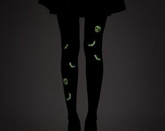 Glow in the dark bats tights / Halloween tights / Goth tights