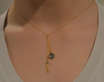 Aquamarine and 14 gold tassel necklace