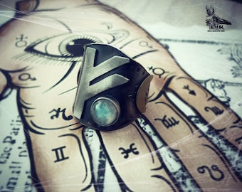Mystery Silver adjustable ring 925 Rune unisex FEHU. history and magic jewels