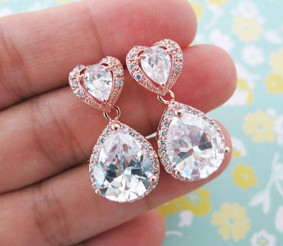 Rose Gold Luxe Cubic Zirconia Heart Teardrop Earring - gifts for her, earrings, bridal gifts, chic, pink gold weddings, heart earrings, love