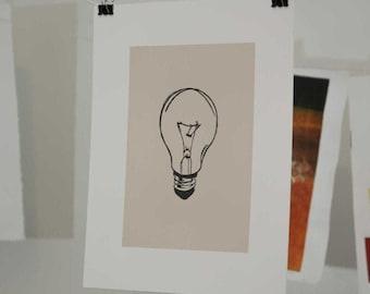 Incandescent Lightbulb Linocut Block Print