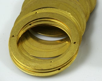Circle two 2 hole connector 30 Pcs Raw Brass 40 mm Charms ,Findings 6R-58