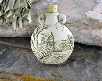 Peruvian Ceramic High Fire Owl Bottle