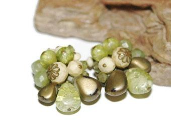 Vintage Earrings from West Germany, Cluster Earrings, Beaded Earrings, Beaded Jewelry, Rustic Jewelry, Earthy Jewelry, Clip On Earrings