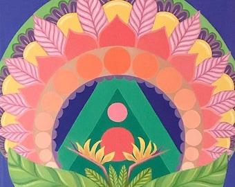 BIRDS OF PARADISE ~ Original Acrylic Painting ~ 11x14 ~ Mandala Art