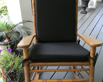 Delicieux Indoor / Outdoor Solid Black Rocking Chair 2 PC Foam Cushion Set ~ Fits  Cracker Barrel Rocker