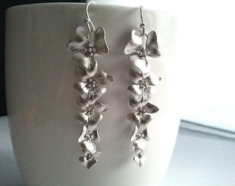 Orchids Flowers Silver Drop, Dangle, Earrings,bridesmaid gifts,Wedding jewelry