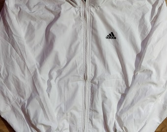 Adidas 90's Vintage Mens Windbreaker Tracksuit Top Jacket Lightweight White