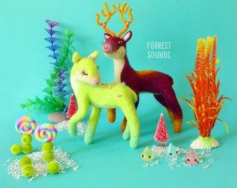 Flora & Fauna fantasy woodland deer pair fairy garden mythical animals OOAK art dolls