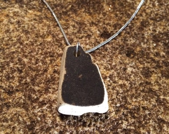 Greasy Creek Glass necklace made from old antique pottery. Appalachian Art