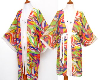 Multi-color Kimono, White trim robe, loose drippy robe, geometric print robe, unique maxi robe, calf-length cardigan, Christmas present