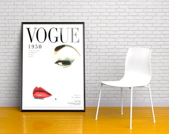 Vogue 1950 Cover Print. Vintage poster. Vogue Poster. Vogue Wall Art. Vogue Decor. Fashion print. Vintage Vogue Cover. Vogue Cover  Poster.