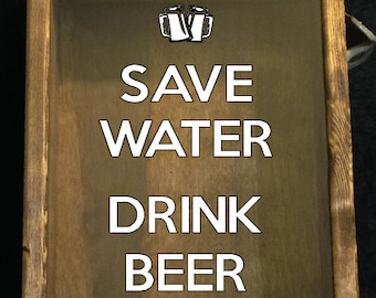 """7 DESIGNS of Save WATER Drink BEER Bottle Cap Holder Shadow Box With Rustic Bottle Opener On Side - Stained wood & glass (9.5""""x12"""")"""