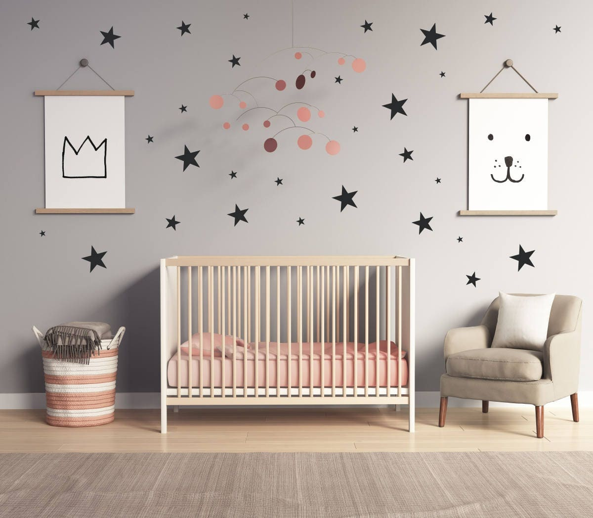 & Star Wall Decals | Nursery Wall Decal | Boys Room Decor