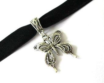 Butterfly choker, black choker, black velvet choker, antiqued silver butterfly charm jewelry, velvet ribbon choker, butterfly necklace
