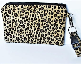 Wrist Purse, Wristlet, Phone Case for iPhone Samsung LG, Zipper Pouch, Wrist Clutch, Adjustable Wrist Strap, Leopard Fabric