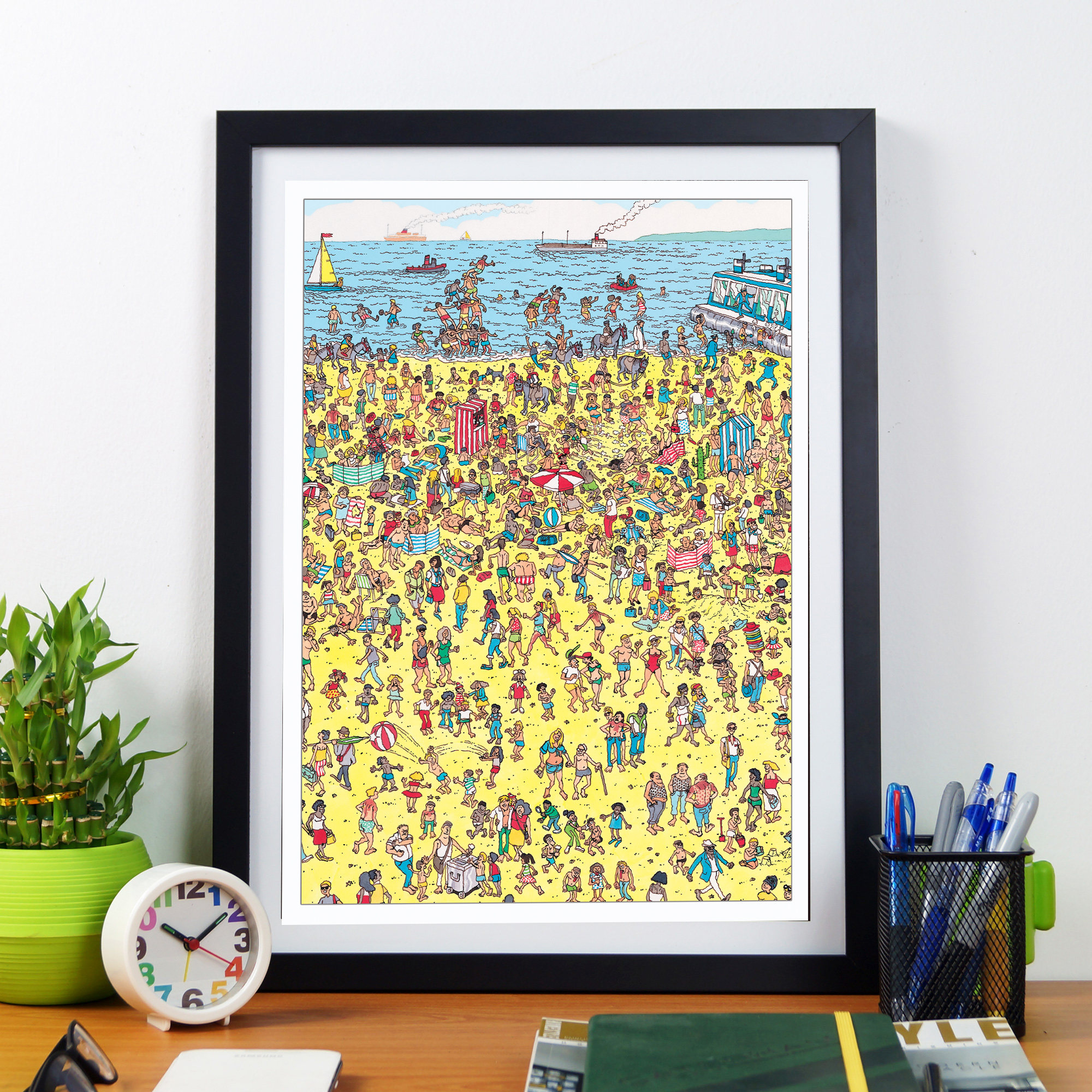 Where\'s Wally/Waldo retro print. Quirky wall art in the