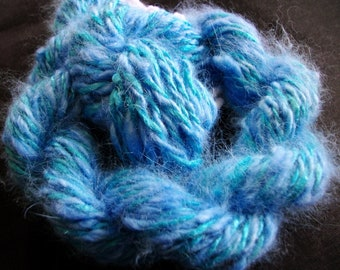 Handspun Yarn Angora Rabbit and Sik Hand dyed Turquoise and blue and blue, D.K. Wt