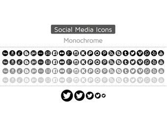 Premade Social Media Icon Set · 460 Icons · Monochrome