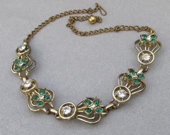 1940's Retro Emerald Green & Crystal Rhinestone Gold Tone Choker Necklace