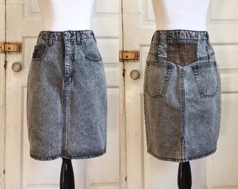 1980s / 80s vintage black denim high waist skirt by Weathered Blues • S/M