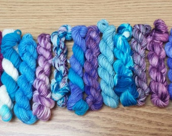 Ice Queen #2, Mini Skein Set, Sock yarn Minin, 12 mini skeins, 5 Grams each, 25 yards each- Ready to Ship
