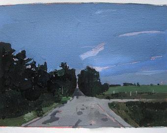 Half Way, August 4, Original Summer Landscape Painting on Paper, Stooshinoff