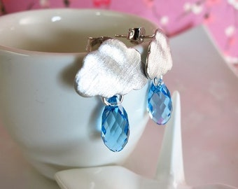 Silver rainy cloud blue Swarovski crystal earrings, raindrop raincloud earrings, cloudy blue raindrop earrings