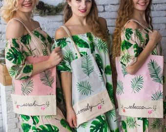 Palm Leaf Tote Bags, Bridesmaids Tote bags, Bridesmaids gifts, Bridal Party gift, Wedding Tote Bag, Monogrammed Tote Bags, Bridesmaids Totes