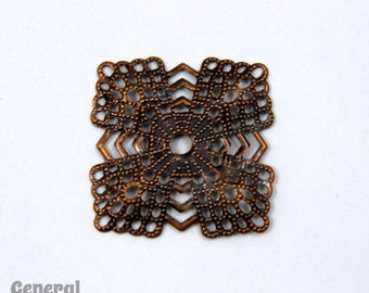 20mm Antique Copper Square Filigree #FIA088