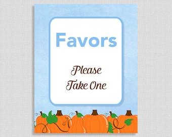 Pumpkin Favor Sign, Baby Boy Shower Sign, Blue Pumpkins, Autumn Baby Shower,  INSTANT PRINTABLE