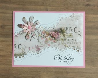 Greeting card, birthday card, handmade card, floral design, occasion card
