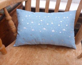 Blue silver star organza Christmas cushion/pillow
