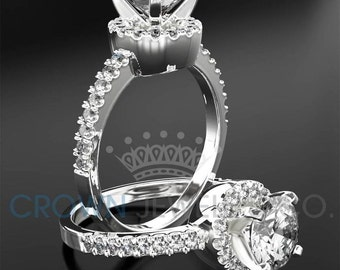 Round Brilliant Cut Engagement Ring 1 Carat F VS1 Diamond Women's White Gold Setting With Side Accent Diamonds