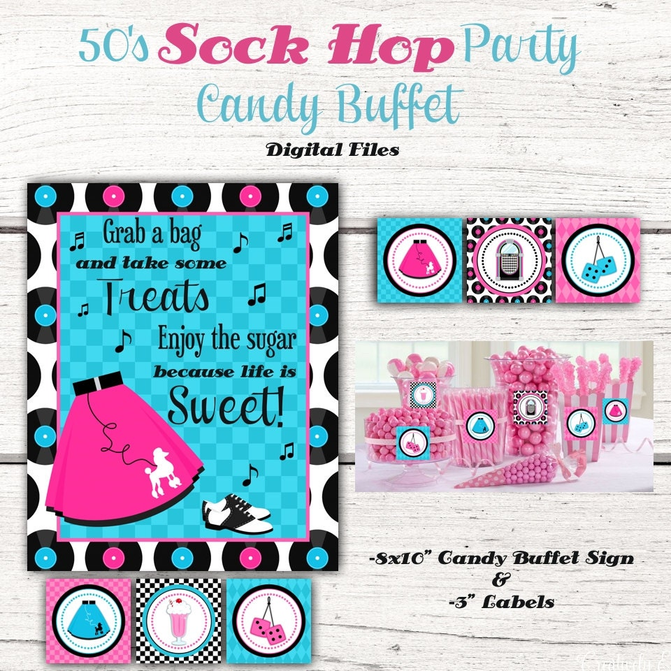 1950\'s Birthday Party Candy Buffet sign, Candy Jar Labels,50\'s ...