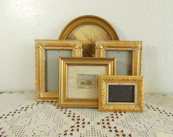 Vintage Gold Picture Frame Collection Set Photo Gallery Mid Century Hollywood Regency Shabby Chic Cottage Home Decor Wedding