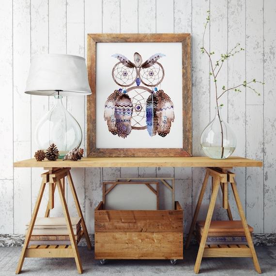 Boho Owl | Watercolor feathers | Native americans art | Archival print poster | Hippie art | Wall decor | Owl art | Bohemian watercolor |