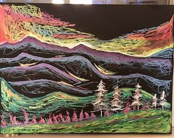 Mountain Sunset Painting - Electrifying!