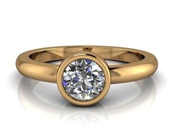 Bezel Set Engagement Ring Moissanite Center I Will